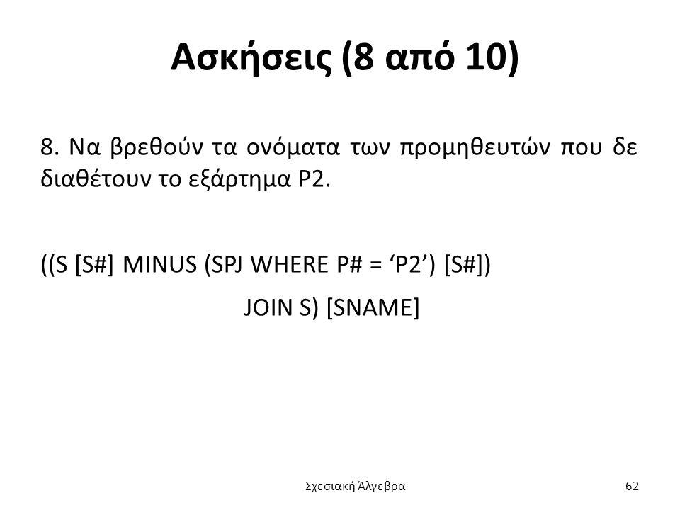 Ασκήσεις (8 από 10) 8. Να βρεθούν τα ονόματα των προμηθευτών που δε διαθέτουν το εξάρτημα P2. ((S [S#] MINUS (SPJ WHERE P# = 'P2') [S#])